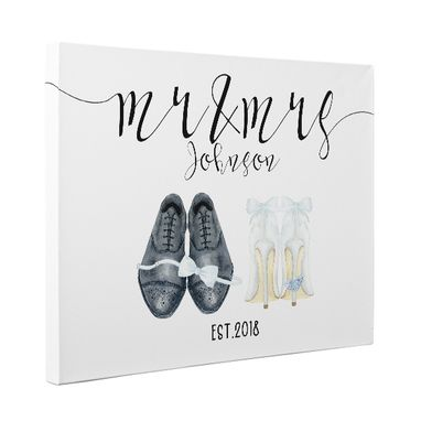 Custom Made Watercolor Wedding Shoes Canvas Wall Art Personalized Wedding Anniversary Gift