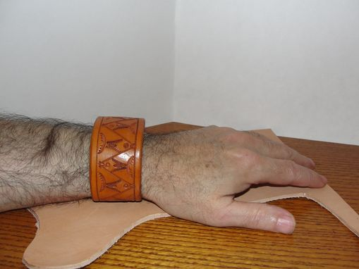 "Custom Made ""Leather Bracelet With American Native Motifs'"