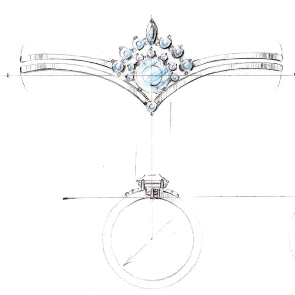 Our artist's sketch shows how the delicate curved 'v' of the engagement ring will pair with a tiara-style band to complete the look.