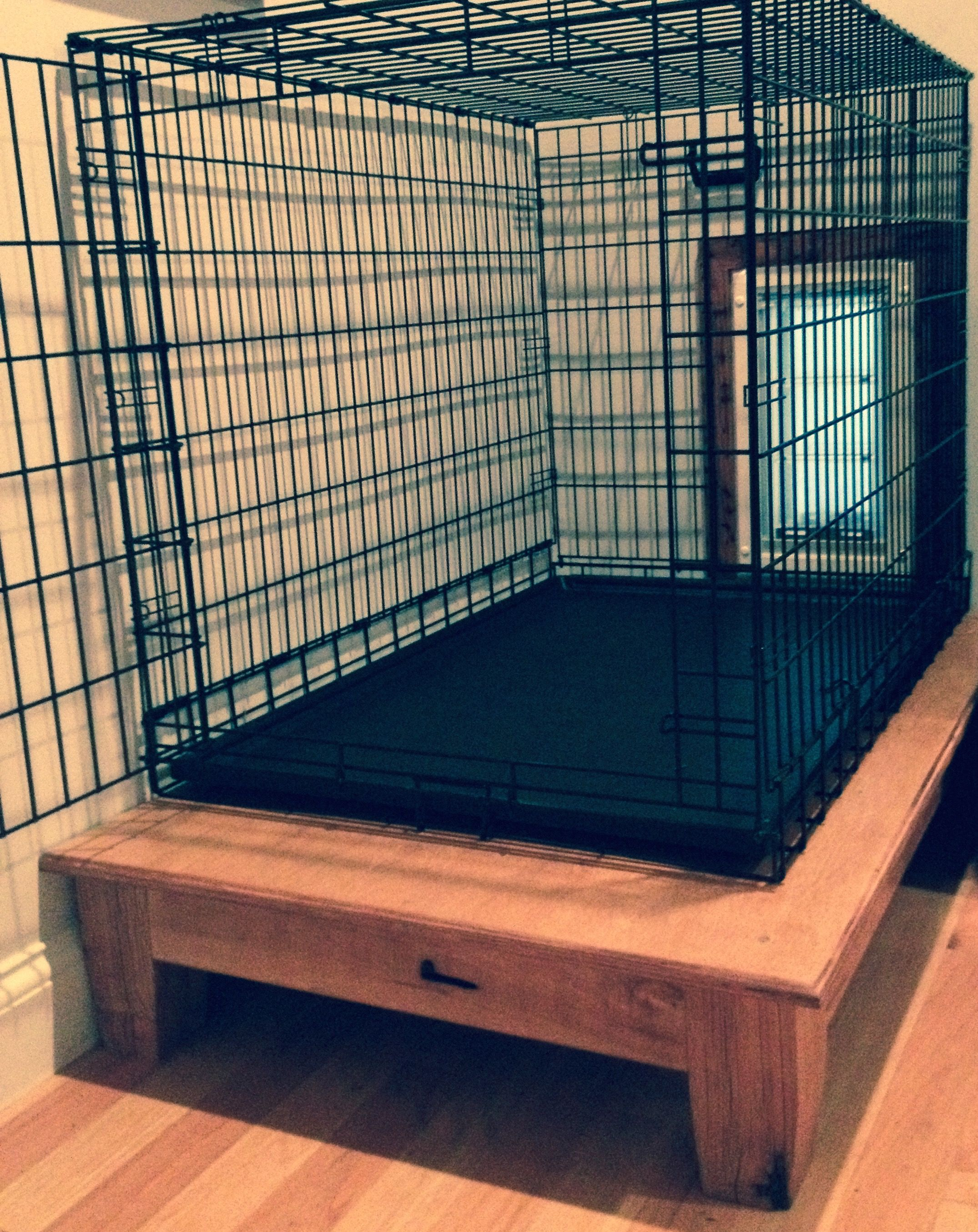 Hand Made Elevated Dog Crate Platform By Appalachian Framery Custommade Com