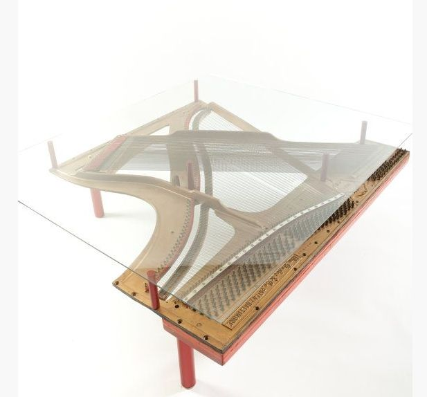 Hand Crafted Repurposed Piano Harp Table With Square Glass