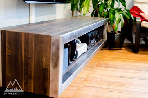 Custom Made Modern Rustic Reclaimed Wood + Steel Floating Entertainment Console
