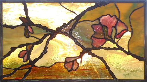 Custom Made Stained Glass Panel Flowering Branches