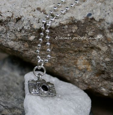 Custom Made Pewter Camera Charm On Ball Chain Necklace