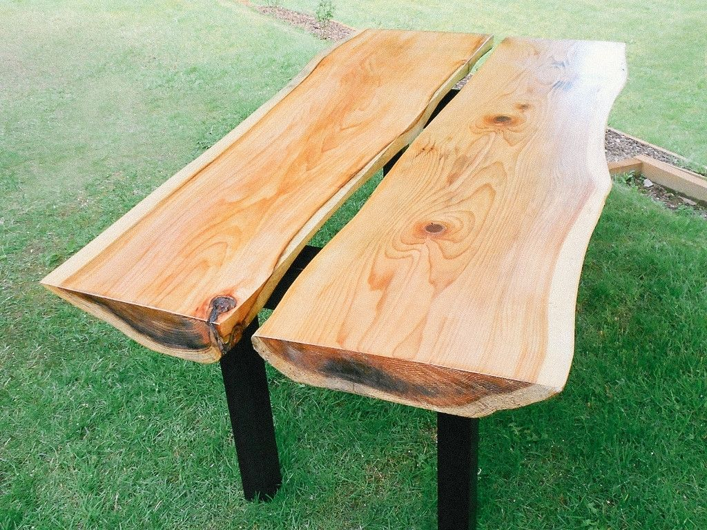 Two Cedar Slab Table By Michael Osburn