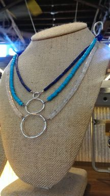 Custom Made Turquoise, Moonstone, And Lapis Lazuli Triple Strand Center Cirlce Drop Necklace