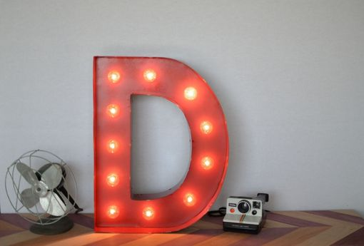 Custom Made Vintage Inspired Marquee Light- Letter D- Color Fire Engine