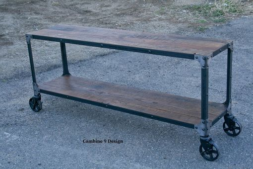 Custom Made Reclaimed Wood, Rustic Sofa Table. Console Table. Cart With Casters. Industrial Style. Tv Stand.