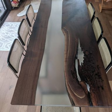 Custom Made Epoxy And Wood Dining Or Conference Table
