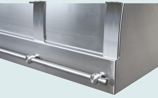 Custom Made Stainless Range Hood With Stainless Straps & Rail