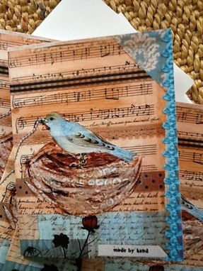Custom Made Made By Hand Blue Bird Notecard Set