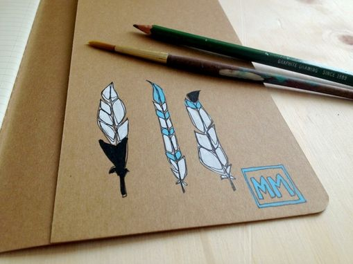 Custom Made Hand Illustrated Feather Notebook