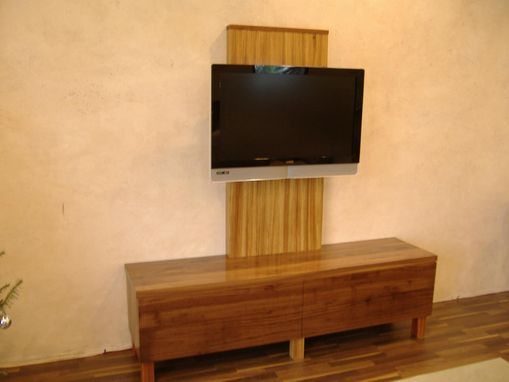 Custom Made Walnut And Zebrawood Tv Stand