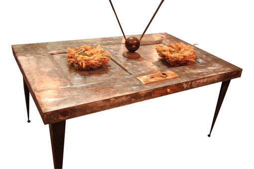 Custom Made Reclaimed Antique Fire Door Coffee Table