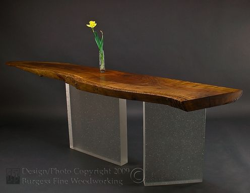 Custom Made Claro-Walnut Sofa Table With Glass Legs
