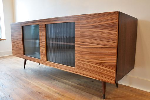 Custom Made Peruvian Walnut And Zebrawood Base Cabinet/Buffet/Bar