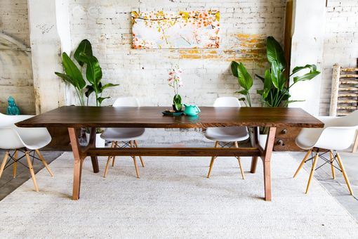 Custom Made Claro Walnut + Copper Live Edge Midcentury Modern Dining Table: The April Live Edge