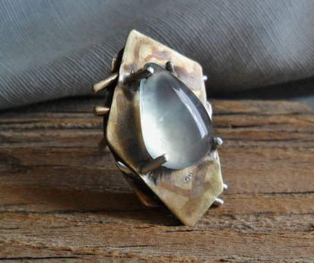 Custom Made Oxidized Brass Pentagon-Shaped Ring With Prehnite Cabochon