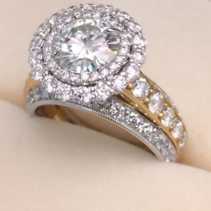 Moissanite And Diamond Ring By