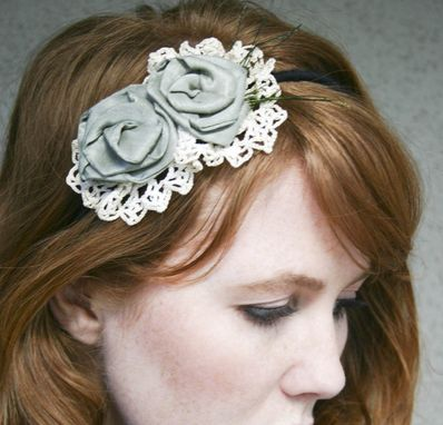 Custom Made Flower Headband With Vintage Lace And Sage Roses Headbands For Women