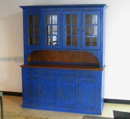 Custom Made Full Size Blue Barn Wood Hutch By