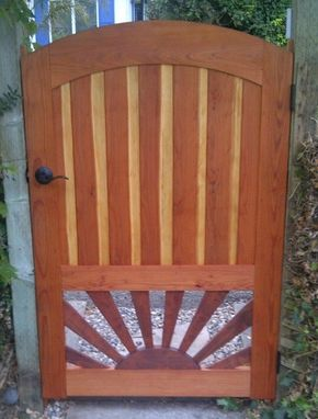 Custom Made Arched Redwood Gate With Sunburst Pattern