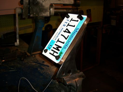 Custom Made License Plate Side Mount With Brass And Led Lights.
