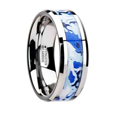 Custom Made General Tungsten Wedding Ring With Blue And White Camouflage Inlay - 8mm