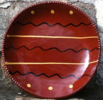 Custom Made Slipware Ceramics, Red With White And Brown Swirling Lines