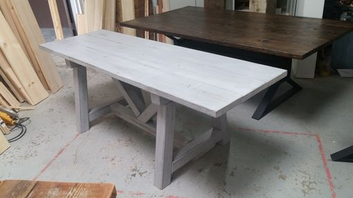 Custom Made Distressed Grey Trestle Farmhouse Table, Reclaimed Wood, Farmhouse Dining Table, Rustic Table