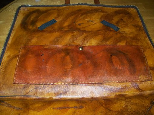 Custom Made Custom Leather Mason Apron Case With Circle And All Seeing Eye Design In Weathered Color
