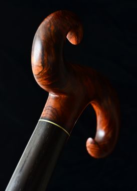 Custom Made Handmade Walking Cane In Cocobolo And Wenge Wood - Walking Stick, Gift Idea, Wood Art