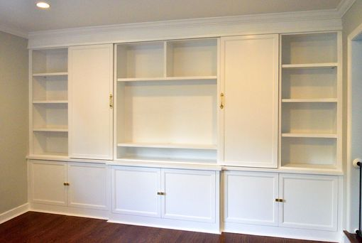 Custom Made Transitional Entertainment Center With Sliding Barn Doors