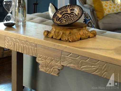 Custom Made Rustic White Oak Sofa Table