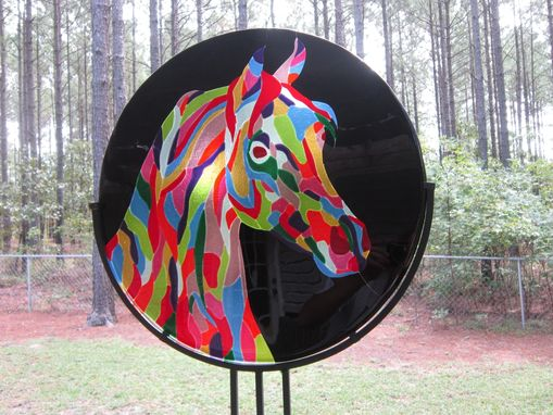 Custom Made Fused Glass Patchwork Arabian Horse - Available For Sale