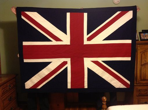 Custom Made Union Jack British Flag Quilt- Twin Size