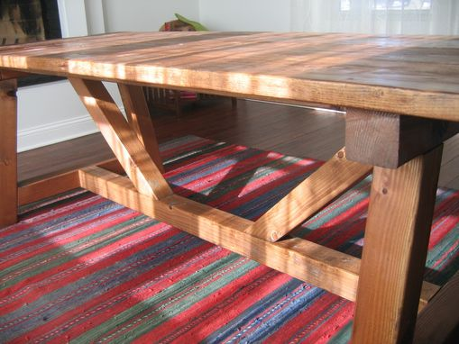 Custom Made Trestle Farmhouse Table, Reclaimed Wood, Farmhouse Dining Table, Rustic Table, Reclaimed Wood Table