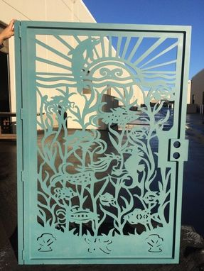 Custom Made Metal Gate Custom Nautical Ocean Mermaid Dolphin Garden Art Pedestrian Walk