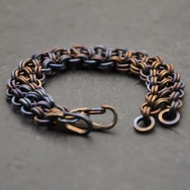 Custom Made Custom Heat Patina Titanium Japanese Chainmail Bracelet
