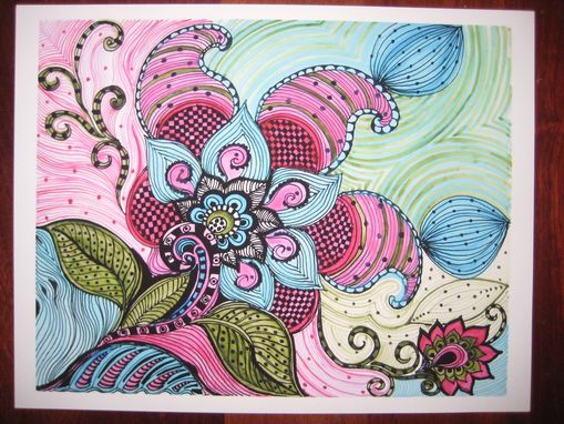 Custom Made Flower Paisley Fine Art Print-Pink Blue Green Flowers Ink And Acrylic