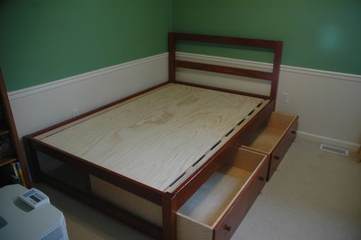 Custom Made Full Size Platform Bed With Two Pull Out Storage Drawers