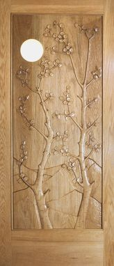 Custom Made Aspen In The Moonlight - Entry Door Carved In Red Oak