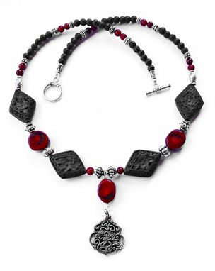 Custom Made Om Pendant - Pewter, Coral Beads, Cinnabar Beads