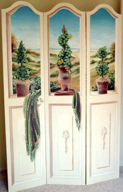 Custom Made Trompe L'Oeil Painted 3 Panel Screen