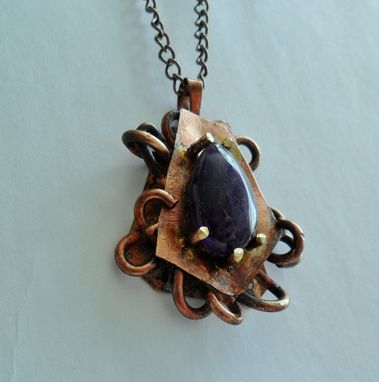 Custom Made Solid Brass Sculptural Necklace With Deep Purple Amethyst Stone