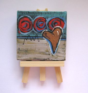 Custom Made Valentine's Miniature Heart Painting Original Acrylic On A Mini Canvas
