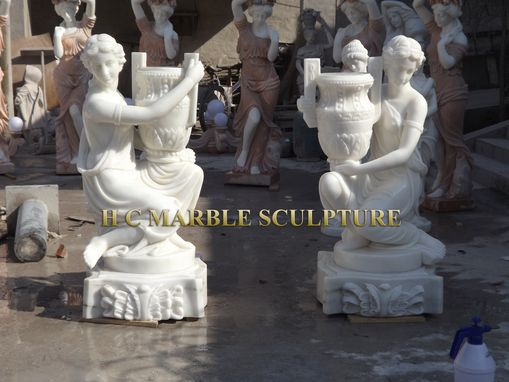 Custom Made Woman W Urn Marble Sculpture