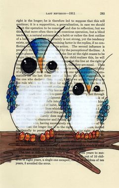 Custom Made Owl Poster Print - Big Blue Owl And Little Blue Owl In 11x17 Poster Print -
