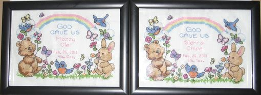"Custom Made Cute ""God Gave Us"" Cross Stitch Birth Announcement"