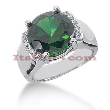Custom Made Green Emerald Diamond Ring